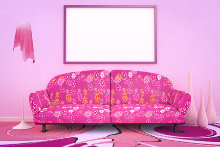 room decor: 3D interior rendering of a pink flower power sofa Stock Photo