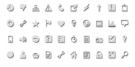 useful: A set of fourty very useful web design icons Stock Photo