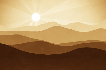 horizons: An abstract brown landscape background graphic with sun Stock Photo