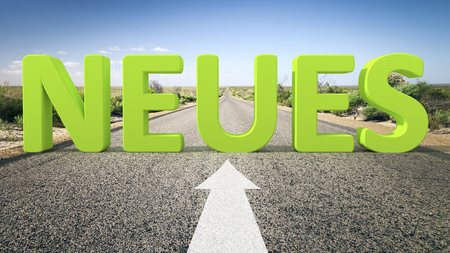 solutions freeway: A road to the horizon with 3d text new in german language