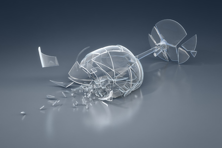 glass break: An image of a crushed wine glass