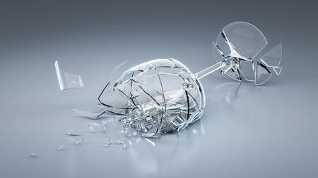 vidrio roto: Una imagen de una copa de vino rota
