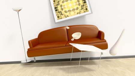 paradox: An image of a room with flying furniture Stock Photo