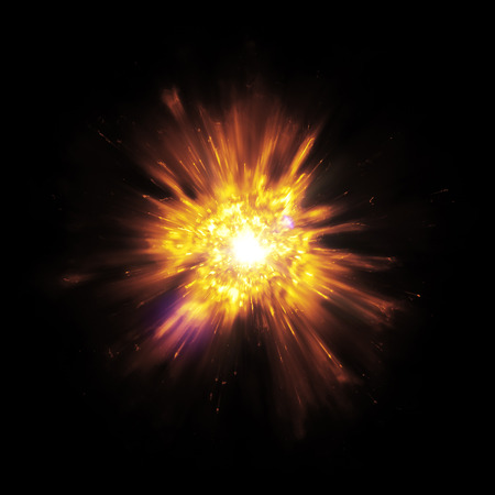 An image of a great explosion with flying sparks Stock Photo