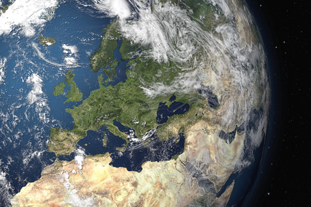 space for images: An image of an Earth view from space. 3D Graphic with detailed NASA images for the earth.