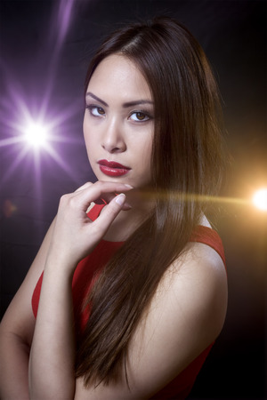 girl in red dress: An image of an asian beauty girl Stock Photo