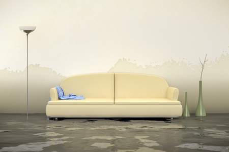A 3d rendering of an interior water damage Archivio Fotografico