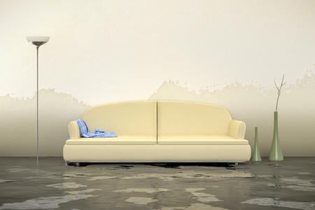 A 3d rendering of an interior water damage Foto de archivo