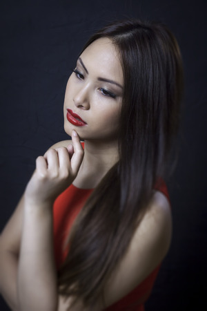 chinese dress: An image of an asian beauty girl Stock Photo