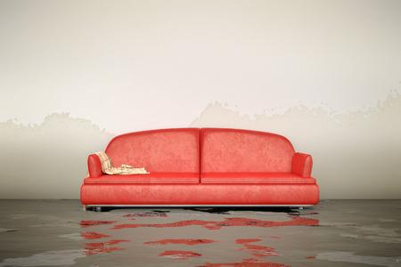 3 d レンダリング、内水被害赤ソファーの