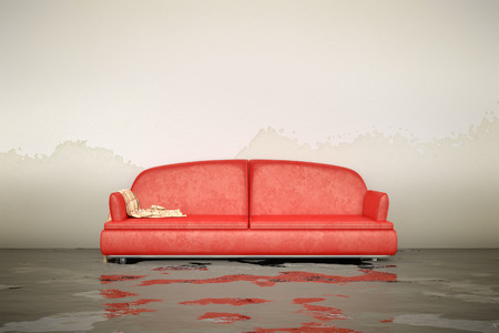A 3d rendering of an interior water damage red sofa
