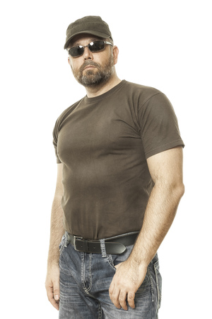 beard man: handsome man with a beard and sunglasses Stock Photo