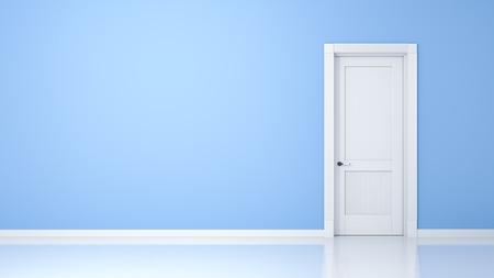 puertas abiertas: Una pared y una puerta en un piso vacío con el espacio para su contenido Foto de archivo