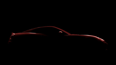 red sports car: An image of a red sports car silhouette Stock Photo