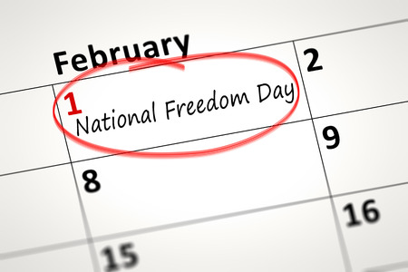 civil rights: calendar detail shows the National Freedom Day at first of February Stock Photo
