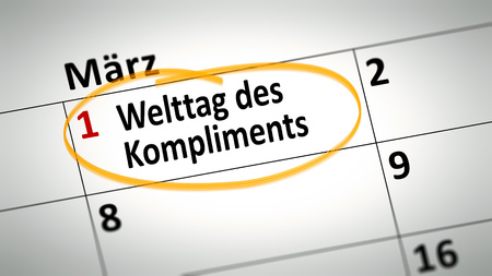 compliments: calendar detail shows World Day of compliment at first of March in german language