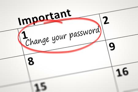 calendar detail toont uw wachtwoord wijzigen elke maand