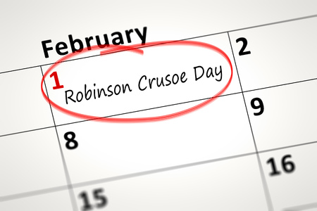 robinson: calendar detail shows the Robinson Crusoe Day at first of February Stock Photo