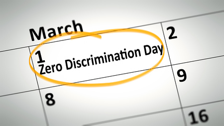 first day: calendar detail shows Zero Discrimination Day at first of March Stock Photo