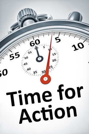 reaction: An image of a stopwatch with text time for action