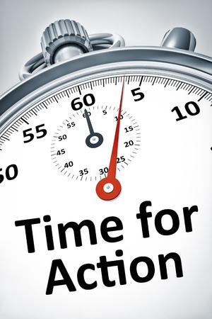 Een afbeelding van een stopwatch met tekst tijd voor actie