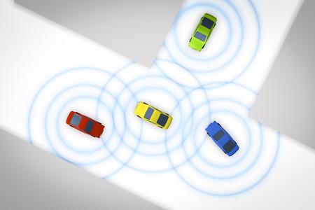 Una imagen de algunos coches autónomos conectados Foto de archivo