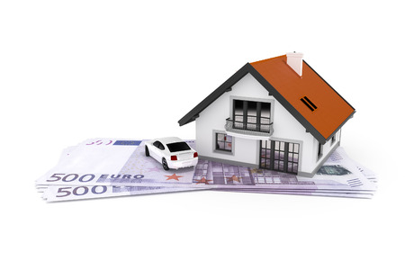 save money: A house and a car above 500 Euro banknotes