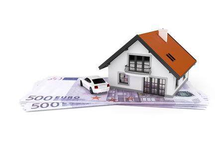 dinero euros: Una casa y un coche por encima de 500 billetes de banco euro Foto de archivo