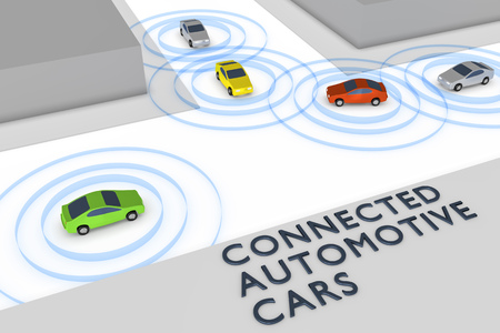 An image of some connected autonomous cars