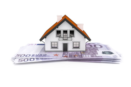 financing: An image of a house above 500 Euro banknotes
