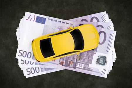 car isolated: A cash for car symbol image with 500 Euro banknotes