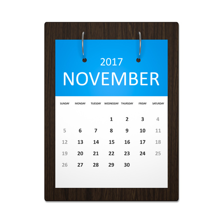 event planning: An image of a stylish calendar for event planning 2017 november