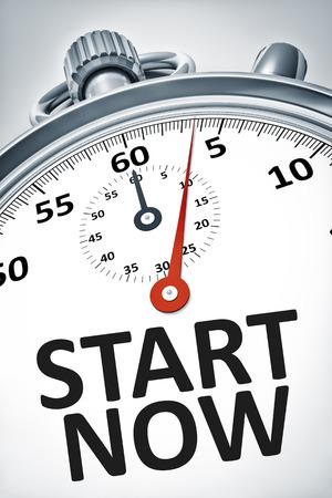 Ein Bild von einer Stoppuhr mit Text Start jetzt Standard-Bild