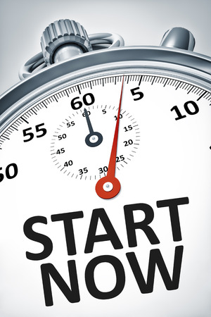 An image of a stopwatch with text start now