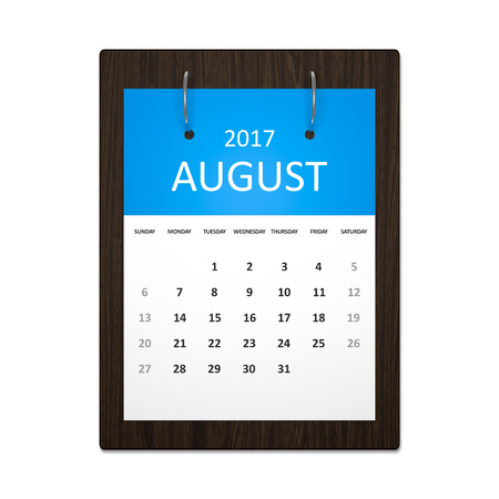 event calendar: An image of a stylish calendar for event planning 2017 august