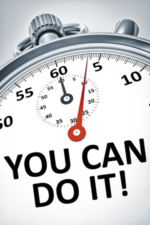 you can do it: An image of a stopwatch with text you can do it
