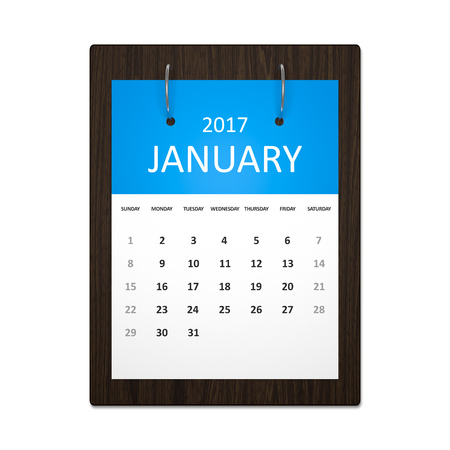 event calendar: An image of a stylish calendar for event planning 2017 january Stock Photo