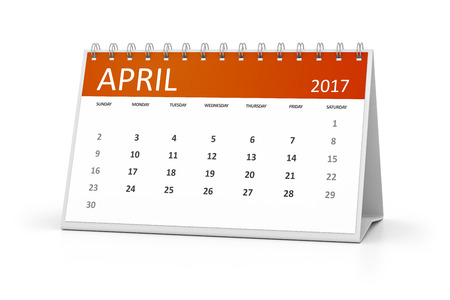 table calendar: An image of a table calendar for your events 2017 april Stock Photo