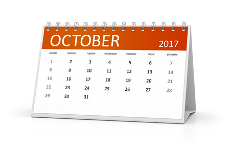 october calendar: An image of a table calendar for your events 2017 october