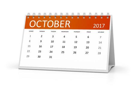 calendario octubre: Una imagen de un calendario de mesa para sus eventos 2017 octubre