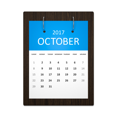 event calendar: An image of a stylish calendar for event planning 2017 october