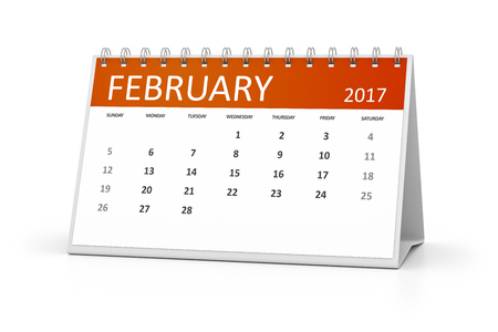 old diary: An image of a table calendar for your events 2017 february