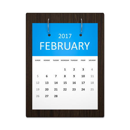 event planning: An image of a stylish calendar for event planning 2017 february Stock Photo