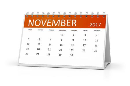 table calendar: An image of a table calendar for your events 2017 november