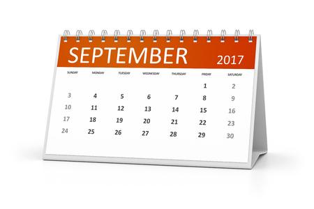 table calendar: An image of a table calendar for your events 2017 september