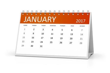 table calendar: An image of a table calendar for your events 2017 january Stock Photo