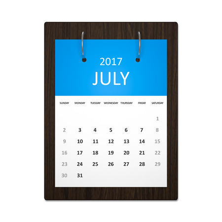event planning: An image of a stylish calendar for event planning 2017 july