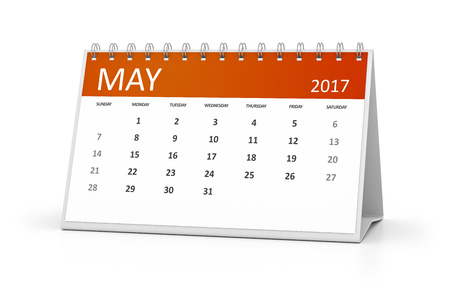 table calendar: An image of a table calendar for your events 2017 may Stock Photo