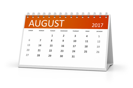 table calendar: An image of a table calendar for your events 2017 august