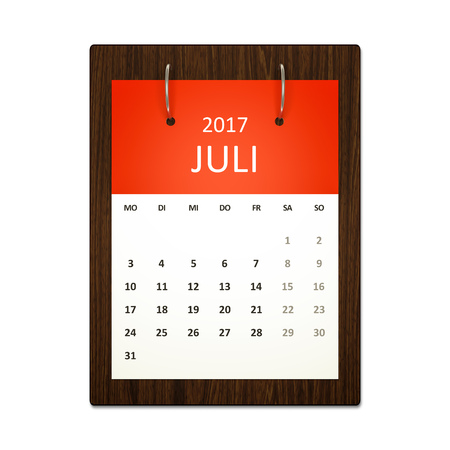 event planning: An image of a german calendar for event planning 2017 july Stock Photo